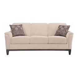 Coaster - Carver Collection Beige Transitional Sofa - This casual styled group is covered in a soft beige chenille fabric. Exposed wood frame with flared legs add to the overall look for this set. Accent pillows are included.