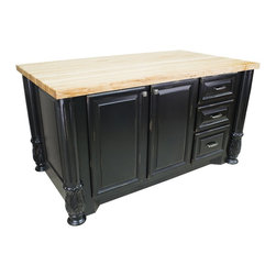 Lyn Design - 63 in. Kitchen Island - 1.75 in. maple butcher block top not included. Three drawers. Soft-close under mount slides and European hinges. Acanthus and fluted posts. Large cabinets for storage of pots and pans. FDA approved food-safe glues and finishing material. Made from MDF and hardwoods. Made in USA. 63 in. W x 37.5 in. D x 34.25 in. H. Specifications