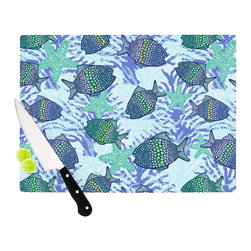 """Kess InHouse - Julia Grifol """"My Colorful Fishes"""" Blue Teal Cutting Board (11"""" x 7.5"""") - These sturdy tempered glass cutting boards will make everything you chop look like a Dutch painting. Perfect the art of cooking with your KESS InHouse unique art cutting board. Go for patterns or painted, either way this non-skid, dishwasher safe cutting board is perfect for preparing any artistic dinner or serving. Cut, chop, serve or frame, all of these unique cutting boards are gorgeous."""