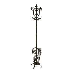 iMax - Metal Coat Rack with Umbrella Stand - With British sensibility, this metal coat rack and umbrella stand is tasteful and functional.