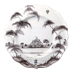 Country Estate Dessert Plate - A favorite piece from the graceful Country Estate collection, this Dessert Plate shows a scene of a formal conservatory in an expanse of lawn, painted in strokes of beautiful flint grey on the white stoneware background of the scalloped plate. Flanked by elegant trees, the scene on the plate brings an airy interpretation of an age-old formal decorative style into your home for flawless grace.