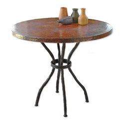 """Mathews & Company - Woodland Bistro Table with 36"""" Round Top - Add a European flair to your kitchen or other entertaining space with an elegantly crafted Woodland Bistro Table with a Copper Top from Mathew's & Company. Its sturdy iron base, and round top make it a piece that invites conversation. With, or without chairs, it's a functional versatile stand alone piece that can be personalized to make it uniquely your own. It's perfectly sized, and could easily become a creative addition to just about any space or room. Pictured in Copper top and Black finish."""