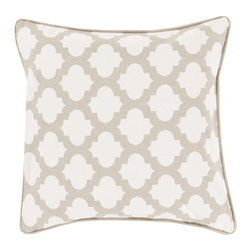 Lattice Tile Throw Pillow in Gray & Ivory - Relax in style with this graphic, boho tile-inspired throw pillow. Its patterned motif gives any room a hint of modern romance and global design.