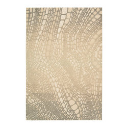 """Kathy Ireland - Kathy Ireland KI04 Palisades KI400 2'3"""" x 8' Light Olive Area Rug 10274 - Designed to reflect the extraordinary wonder and natural splendor of the Hawaiian Islands, this abstract snake print undulates and flows with a molten lava-like grace in artfully understated shades that seem to glow with an inner light. Hand tufted with a generous cut and loop pile-construction, this fascinating rug is expertly crafted with a look and feel that is utterly fantastic. Our Lava Flow rug lives in our Aloha Style Guide."""