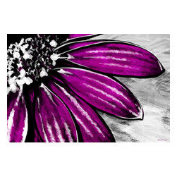 """Maxwell Dickson - Maxwell Dickson """"Purple Petals"""" Floral Flower Pop Art Canvas Print Artwork - We use museum grade archival canvas and ink that is resistant to fading and scratches. All artwork is designed and manufactured at our studio in Downtown, Los Angeles and comes stretched on 1.5 inch stretcher bars. Archival quality canvas print will last over 150 years without fading. Canvas reproduction comes in different sizes. Gallery-wrapped style: the entire print is wrapped around 1.5 inch thick wooden frame. We use the highest quality pine wood available."""