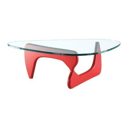 Modern Red Coffee Table Omuro - Modern Coffee Table Omuro with red base consists of two-part solid wood base and a beautiful triangle-shaped 15mm thick tempered glass top. Its famous look origins from Japanese design school.