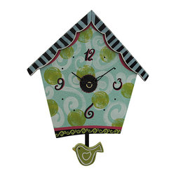 Whimsical Wooden Birdhouse Pendulum Clock - This whimsical wooden birdhouse clock is an adorable accent to any wall! It is hand painted and features a bird shaped pendulum. It hangs on the wall with one nail, and runs on one AA battery (not included.) The clock measures 15 inches tall including the pendulum, 11 inches wide, and 1 1/2 inches deep. It makes a great gift for your favorite bird watching friend.