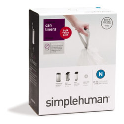 simplehuman - Code N Custom Fit Can Liners, 45-50 Liters, 45 Pack - Get a grip on your junk. These bags fit perfectly inside each coordinating can so that there's no bunching, no slipping and no edges showing. They're also strong and dependable. Can you say the same about other liners?