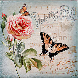 "Tile Art Gallery - Springtime In France I - Ceramic Accent Tile - This is a beautiful sublimation printed ceramic tile entitled ""Springtime In France I"" by artist Conrad Knutsen. It features a gorgeous butterfly scene."