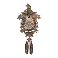 RIVER CITY CLOCKS - Eight Day Hand-carved Cuckoo Clock with Aesop's Fable Themed Carvings - Fox, Bir - This Aesop's Fable themed styled German cuckoo clock features wooden hands, a wood dial with Roman numerals, and a warm light yellow hand-painted and hand-carved cuckoo bird. The cuckoo clock case features many hand-carved maple leaves, grapes, a fox beneath the dial, and a bird sitting at the peak of the clock roof. Three cast iron pine cone weights are suspended beneath the clock case by three separate brass chains.    The hand-carved & hand-painted pendulum continuously swings back and forth which controls the timing of the clock. If your cuckoo clock's timing should ever need adjustment, you can control the speed of your clock by sliding the maple leaf up or down the pendulum stick. Sliding the maple leaf pendulum down causes the cuckoo clock to run slightly slower, while sliding the maple leaf up makes the cuckoo clock run slightly faster.    On every hour the cuckoo bird emerges from a swinging door above the clock dial and counts the hour by cuckooing once per hour. (Example: At one o'clock the bird will cuckoo once. At eight o'clock the bird will cuckoo eight times) The half hour is announced with one cuckoo call.     The eight day mechanical Regula movement, which is produced in the Black Forest of Germany, is wound once per week by raising the two pine cone weights. One weight powers the time, and the other weight powers the cuckoo and cuckoo call.        *Great effort has been made to portray each cuckoo clock as accurately as possible. As with many handmade items, the exact coloration and carving may vary slightly from clock to clock. We consider this to be a special part of their character.   This clock is covered by a two year limited warranty covering workmanship and manufacturers defects. .