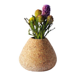 Melanie Abrantes Designs - Cork Teardrop Vase - Hand-turned cork bud vases are designed for a single flower or two, each one is unique and one-of-a-kind. The vases have a shellacked interior and finished on the outside with a natural orange oil and beeswax mixture.