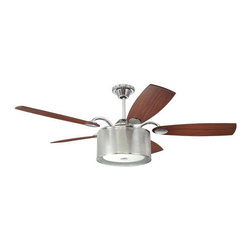"Ellington Fans - Ellington Fans Bastille Modern Indoor 5 Blade 54"" Ceiling Fan with Light Kit and - Ellington Fans Bastille Modern Indoor 5 Blade 54"" Ceiling Fan with Light Kit and ControlsEnhance the style in your home with the Bastille Ceiling Fan from the Modern Collection by Ellington Fans. The fan utilizes a tasteful Chrome finish and a fashionable Dark Cherry / Walnut finish on the fan blades to add a dynamic sure to enhance the aesthetic quality of your room.Sophistication, poise and elegance come in all shapes and sizes. Get carried away by Ellington Fans Classic Collection and find exactly what you're looking for among their unique masterpieces.Ellington Fans Bastille Features:"