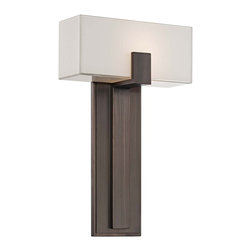 """George Kovacs - George Kovacs Mitered Glass 10"""" Copper Bronze Wall Sconce - Raise the style factor with a designer lighting fixture in handsome and versatile transitional style. This one-light wall sconce comes in a copper bronze patina finish with a rectangular white inside mitered glass shade on top. An ADA compliant design from the George Kovacs lighting collection. Copper bronze patina finish. White inside mitered glass. Maximum 100 watt bulb (not included). ADA compliant. 16 1/2"""" high. 10"""" wide. Extends 4"""" from the wall.  Copper bronze patina finish.   White inside mitered glass.   From the George Kovacs wall sconce collection.  Maximum 100 watt bulb (not included).   ADA compliant.   16 1/2"""" high.   10"""" wide.   Extends 4"""" from the wall."""