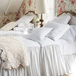 """Amity Home - Amity Home Scalloped Quilted Pillow, 20""""Sq. - Bleached white cotton twill """"Hampton"""" bed linens by Legacy Home are irresistible in both look and price. Piped bedspreads with attached skirt have a 28"""" drop. Matching dust skirts with an 18"""" drop add fullness while box shams and an 18""""Sq. pillow comple..."""