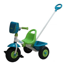 """KETTLER International Inc - Kettler Kiddi-O Air Tire Swift Big Wheel Riding Toy Multicolor - 8852-800 - Shop for Tricycles and Riding Toys from Hayneedle.com! Thanks to a patented Quik-Adjust telescoping frame the Kettler Kiddi-o Air Tire Swift Tricycle is the only tricycle you'll ever have to buy. The frame adjusts to 5 positions so it grows as your child grows. Plus the ergonomic seat offers four positions too. Even the powder-coated parental push bar has three positions! Air tire wheels offer kids a smooth ride and this tricycle features a limited turn radius for safety. Kids will love the rear bucket and the pouch on the handlebars for storing special finds along their ride.About Kettler ProductsThis item is manufactured by Kettler. Throughout the world Kettler is a leading brand in leisure furniture sports and fitness equipment table tennis tables bicycles and children's outdoor toys. Since 1949 the company has grown from a small enterprise in Heinz Kettler's home town of Ense-Parsit in Germany into a world-wide manufacturing and marketing organization. Heinz Kettler has always remained true to the """"Made in Germany"""" quality principle and it is still the central pillar of the company's management philosophy. This means that even after 50 years of trading all over the world most of the factories and particularly the most important ones are still in Germany."""