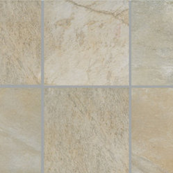 Vals Porcelain Tile - Slightly textured stone-look with straight edges