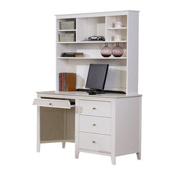 MBW Furniture - Youth White Computer Desk w/ Hutch - This beautiful Youth White Computer Desk w/ Hutch is finely crafted from solid hardwoods and veneers with a stylish White finish. Computer desk features flip down keyboard tray and 3 drawers with satin silver hardware. Hutch has 4 shelves with open storage compartments. Its durability and contemporary style will make this piece a wonderful addition to your child's bedroom. Chair not included.
