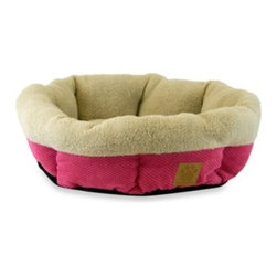 Precision Pet Products - SnooZZy Mod Chic Round Shearling Pet Cup in Fuschia - This luxurious pet bed by Precision Pet is designed for small dogs and cats and is made out of a bump chenille microfiber and super-soft suede.