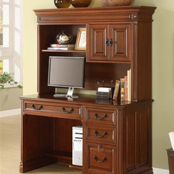 Golden Oak - Augusta Desk w Hutch in Brown Cherry Finish - Includes desk with hutch. Storage space for books. Ideal for living room or bedroom. Cupboard with removable shelves. Adjustable shelves. Finished shelf facing. Crown molding enables side by side positioning. Full extension glides. Desk: 57 in. W x 24 in. D x 31 in. H (89 lbs.). Hutch: 54 in. W x 14.75 in. D x 36 in. H (89.5 lbs.)