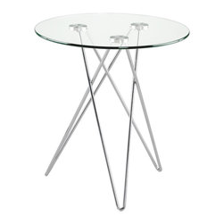 Euro Style - Euro Style Zoey Side Table X-04212 - At 20.5 inches in height, Zoey is the perfect companion to a sofa or a favorite chair. The clear glass top gives you an ideal view of a set of three steel legs that you'll never figure out no matter how long you look at them.
