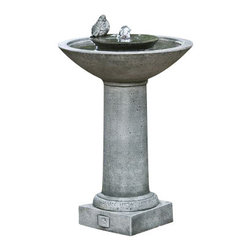 Campania - Aya Garden Water Fountain, Aged Limestone - The Aya Fountain will look perfect in any outdoor setting. Water bubbles up from the center with a little bird perched on it before flowing into the basin below.