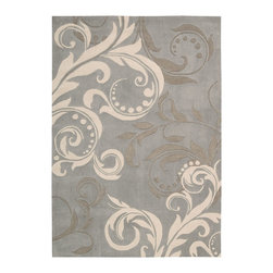 """Nourison - Nourison Contour CON09 8' x 10'6"""" Silver Area Rug 06669 - A luminous silvery-blue background gets an infusion of energy from an oversized scrolling leaf and vine design rendered in super chic shades of white and slate. This contemporary rug's exquisitely hand-carved details are sure to make you step out of your shoes."""