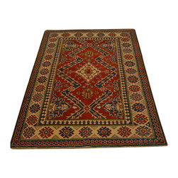 Geometric Design Kazak Oriental Rug 4' x 5' Red Hand Knotted 100% Wool SH16673 - This collections consists of well known classical southwestern designs like Kazaks, Serapis, Herizs, Mamluks, Kilims, and Bokaras. These tribal motifs are very popular down in the South and especially out west.
