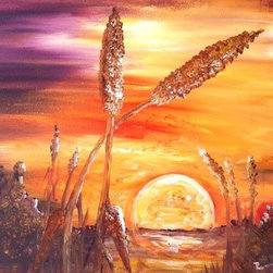Cattails (Original) by Renee  Dumont - Inspired by living on the shores of Webster Lake.