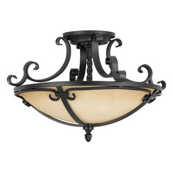 Murray Feiss - Murray Feiss Colonial Manor Transitional Semi Flush Mount Ceiling Light X-KB922F - Colonial Manor transitional semi-flush mount ceiling light by Murray Feiss is a casual and contemporary fixture. Notice the gentle curves of the metal in a black finish and the clean lines of the antique cream scavo glass shade which are inspired by Colonial wrought iron work of the late 18th Century. It fits perfectly in both a casual or formal setting.