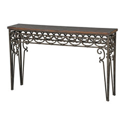 Ambella Home - Meridant Console Table - Save a high profile spot in your home for this decorative side table. The scrolled wrought iron and mahogany finished wood top offer a great place to show off your collectibles. Whether it's vintage books or a beautiful bouquet of flowers, your treasures will shine on this piece.