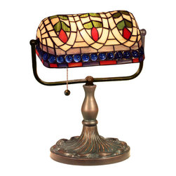 Warehouse of Tiffany - Tiffany-style Banker Blue Eyes Desk Lamp - This elegant Banker Blue Eyes Desk Lamp has been handcrafted using methods first developed by Louis Comfort Tiffany.