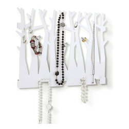 Put a Bird on It Jewelry Holder - A combination of whimsical wall décor and practicality, this jewelry holder is a great way to wed your organizational ambitions and your sense of style. A perfect addition to your bedroom, this jewelry holder is cut in the shape of trees and includes decorative metal birds perched on the branches for good measure. Includes mounting hardware for easy installation.