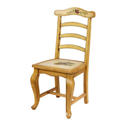 AA Importing - French Provincial Inspired Side Chair w Ladde - French Provincial Styling. Decorated with painted fruit and floral designs. Finished in light wood with ivory insets across the seat and top rail. 20 in. L x 18 in. W x 39 in. H (28 lbs.)