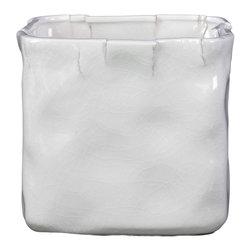 Ceramic Pot Cracked and Wrinkled Design - Gloss White - *Ceramic Pot Cracked and Wrinkled Design Gloss White