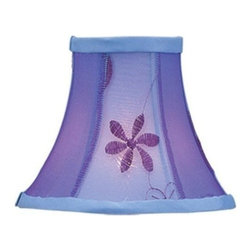 Livex Lighting Inc - Livex Chandelier Shade Violet Embroidered Floral Silk Bell Clip Shade -S222 - Clip on Shade