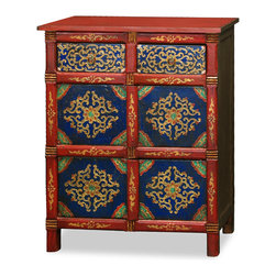 """China Furniture and Arts - Hand-Painted Tibetan Chest - Decorated in vibrant color scheme and intricate geometric patterns, this cabinet personifies the unique Tibetan aesthetic. This richly decorated cabinet is guaranteed to stand out in any d�cor scheme. Featuring 2 drawers and two lower interior compartments, it also functions as adequate storage.  The drawer interior measures 12""""W x 10""""D x 3.5""""H, and the lower interior measures 25.50""""W x 12""""D x 12.25""""H. Entirely hand crafted of Elmwood."""