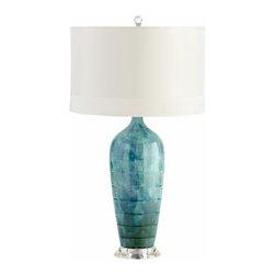 Blue Elysia Ceramic Table Lamp w/ White Shade - *Elysia Table Lamp