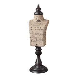 Uttermost - Uttermost Jewelry Mannequin 19793 - Script-printed burlap with mahogany finished metal details. Small drawers open for storage on the front and side. The burlap script will be different on each one.