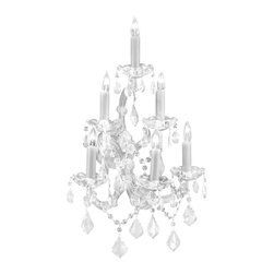 The Gallery - Swarovski crystalrimmed chandelier - Maria Theresa Wall Sconce W/ SwarovskiCr - This beautiful chandelier is trimmed with Sprectra crystal reliable crystal by Swarovski. Swarovski is the world's leading manufacturer of high quality crystal. Sprectra crystal Swarovski undergoes stringent quality control and offers the best crystal uniformity of sparkle, light reflection and Sprectral colors. Maria Theresa WALL SCONCE trimmed with Sprectra crystal reliable crystal by Swarovski A Great European Tradition. Nothing is quite as elegant as the fine Crystalall sconces that gave sparkle to brilliant evenings at palaces and manor houses across Europe. This exquisite version from the Maria Theresa collection is trimmed with Sprectra crystal reliable crystal by Swarovski that capture and reflect the light of the candle bulbs, each resting in a scalloped bobache. The timeless elegance of this chandelier is sure to lend a special atmosphere in every home.