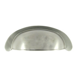 "Stone Harbor Hardware - Marblehead Cup Pull, Satin Nickel - With smooth edges and clean lines, the Marblehead cup pull complements both contemporary and traditional styles. The cup pull measures 3-3/8"" across and has 3"" hole spacing for easy installation. This low-profile Marblehead cup pull has a 13/16"" projection and is available in satin nickel and vintage bronze. Includes 1"" screws."