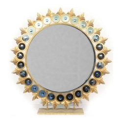 Two's Company - Sun Mirror on Pedestal/Metal/Resin - Tozai by Two's Company Sun Mirror on Pedestal, Glass/Metal/Resin .