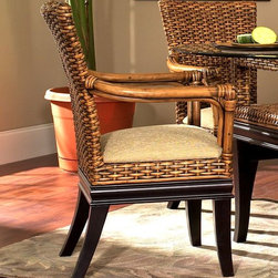 Boca Rattan - Biscayne Rattan Dining Arm Chair in Royal Oak - Fabric: 641A merging of bamboo and rattan in royal oak and ebony finishes gives this dining arm chair a stylish look that will be a charming addition to any casual dining area. The chair features an intricate woven rattan back and includes an upholstered seat in your choice of fabrics. Cushion included. Indoor use only. Leather bindings. Constructed from strong and durable rattan. 26 in. W x 25 in. D x 36 in. H (25 lbs.)