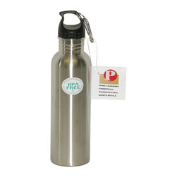 Prime Pacific LLC - Pair of 2 Stainless Steel Water Bottles, Silver - This pair of water bottles is BPA free! It comes made out of durable stainless steel, with room for 25 oz of liquid. It has a wide mouth for easier addition of ice cubes for cold beverages. It is lightweight and easy to carry with a loop screwed cap that is made for attaching to your belt or bag! This pair is not intended for use with hot items!
