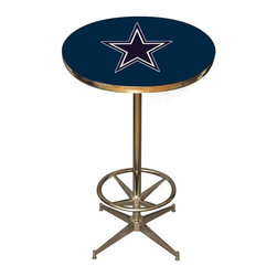 Imperial International - Dallas Cowboys NFL Pub Table - Check out this awesome pub table. It's perfect for your Man Cave, Game Room, Home Bar, or anywhere you want to show love for your favorite team. It has a disco style steel base with leg levelers and foot ring.