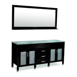 """Atlas International Inc - Bathroom Vanity - """"Dayton"""" Double Sink - Upgrade your bathroom, with our exclusive Dayton double sink bathroom vanity. This vanity will give you plenty of storage space with its four frosted glass doors with soft-closing hinges. The luxurious black wood is designed to complement any decor, from traditional to modern. A perfect decorative touch for your master or guest bathroom"""