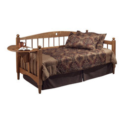 Hillsdale - Hillsdale Dalton Daybed in Medium Oak Finish with Roll-Out Trundle - Hillsdale - Daybeds - 1393DBLHTr - The Hillsdale Dalton Daybed has solid wood construction in a warm medium oak finish. It features a gently arched backrest squared posts topped with a traditional round finial diamond cut out motifs and spindled back and side panels. This unique daybed has the added function of a drop-leaf side table. This twin size daybed includes a mattress supporting suspension deck for your convenience. Extend its versatility by using it as a sofa in the home office or combining it with the included roll-out trundle in the guest room for even more sleeping space. The concealed space saving roll-out trundle includes six casters for easy setup and supports a standard twin size mattress. With the convenience of the side table and the elegant mission style the Dalton Daybed has a lasting appeal you will enjoy for many years.
