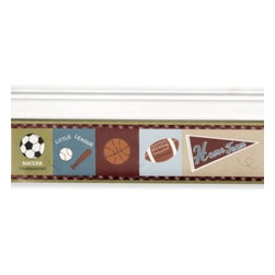 Cocalo - CoCaLo Baby Sports Fan Wall Border - Featuring sports accessories in the richest of colors, this Sports Fan wall border is perfect for the little athlete's nursery. Coordinates with the Sports Fan bedding ensemble.