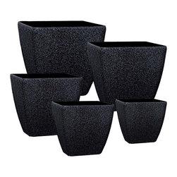 kasamoderndesign - Modern Black Set of 5 Planter Pots - Modern Black Set of 5 Planter Pots to use Outdoor or Indoor Home Decoration Patio Garden Lawn