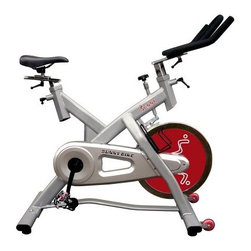 Sunny Health & Fitness Indoor Cycle Trainer - 55 lb. Flywheel - Excellent low-stress workout in compact easily portable designAuthentic fun and challenging cycling training at homeCommercial SPD clip pedalsHeavy-duty crank and steel frame55-lb. flywheel; top press-down brakeChain drive mechanism is smooth and quietSeat and handlebar are fully adjustable for comfortMetal bottle holder for convenient drink storageAdjustable resistance provides variable workoutsWheels on front for easy portabilityManufacturer's warranty included - see Product Guarantee area for complete detailsAbout Sunny Health & FitnessSunny Health & Fitness has been importing and distributing high-quality health and fitness products for over ten years. From their headquarters in Los Angeles California they import equipment from direct sources in Taiwan and China to provide more competitive pricing than the average health and fitness equipment distributor. Because they are committed to excellence and stand behind the quality of every one of their products Sunny Health & Fitness has become one of the fastest-growing companies in the market.