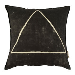 Three Points Pillow Cover - Simple geometric pillow cover with a subtle distressed look. Black with natural triangle on front and natural backing. Made from 100% cotton linen blend fabric, featuring a hidden zipper closure.